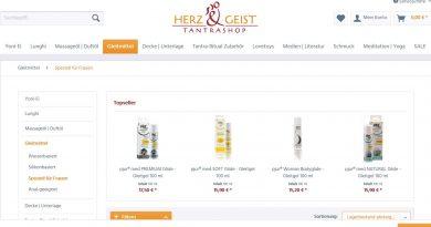Screenshot Herz und Geist Shop Gleitmittel für Yoni-Massage