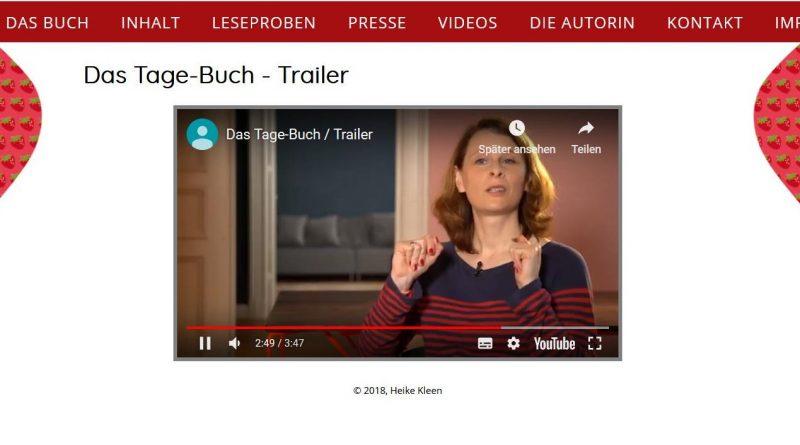 Screenshot Webseite Heike Kleen - Das Tage-Buch zur Menstruation